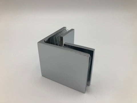 Glass to glass clamp for shower glass with Chrome finish
