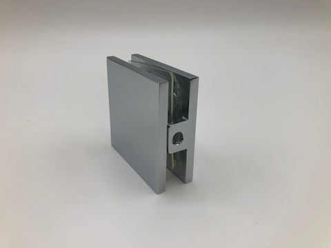 Inline glass clamp for shower glass set ups in Chrome