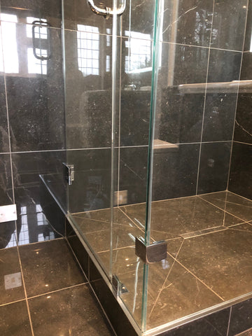 Glass 90 degree clamps for shower enclosure