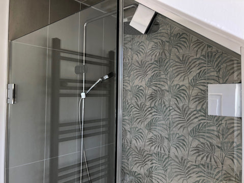 Attic shower glass panel with Chrome clamps