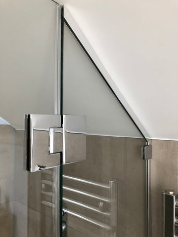 Chrome glass to glass hinge for a bespoke shower door