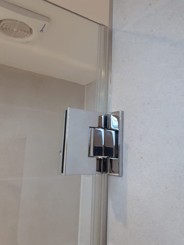 Chrome offset wall to glass hinges with cover plates