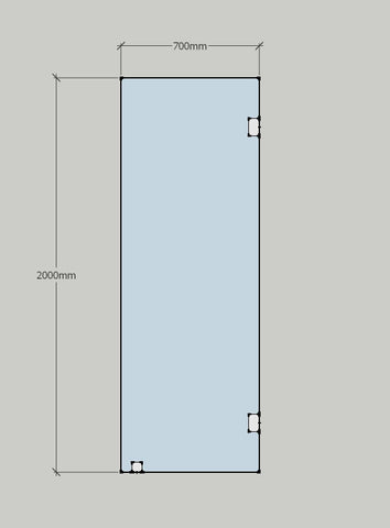 Shower glass standing panel 700mm x 2000mm fixed in place with wall to glass clamps and toe clamp.