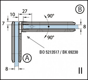 Shower Door Hinge Romana 90° glass/glass