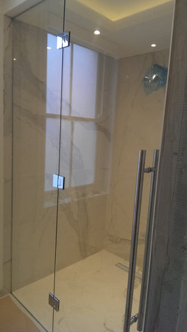 Frameless Glass shower door with Side Panel