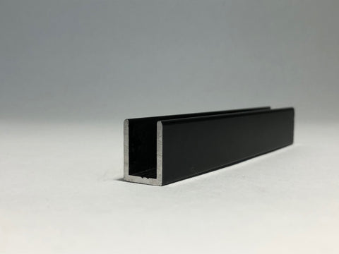 12mm U Channel - 2.41m - Matte Black - Suitable for all 12mm Glass Shower Panels, Screens and Bespoke Glass Shower Enclosures