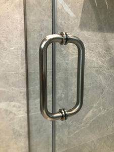 "8"" Back to Back Pull Handle with Washers BRUSHED NICKEL for shower and glass doors"