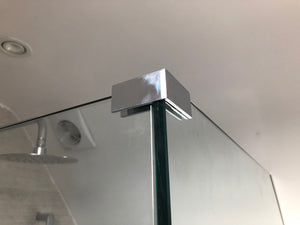 "Chrome 90 Degree ""Sleeve Over"" Glass Clamp - For 8mm to 12mm Glass"