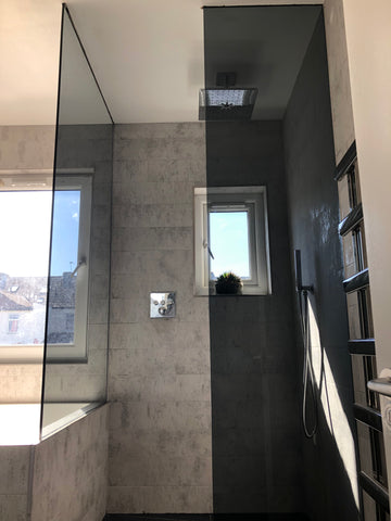 10mm Grey Tinted Toughened Glass Shower Screen / Wet Room Panel