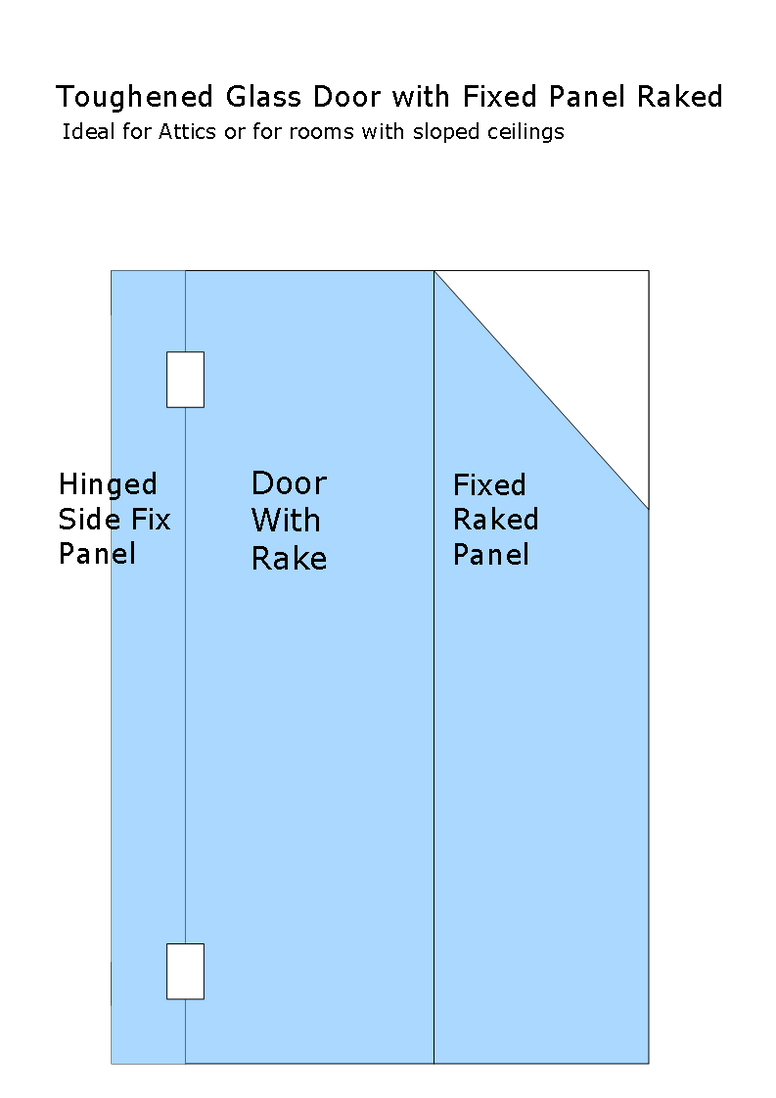 Shower door with Side Panel and Fixed Hinge Panel (Attics and rooms with shaped ceilings)