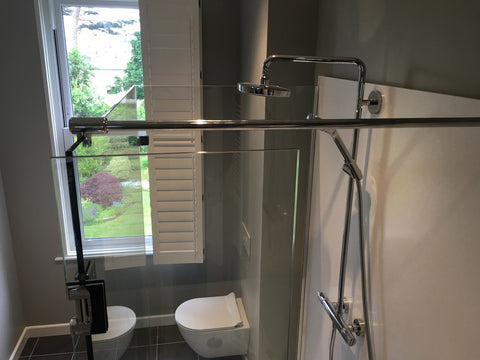 chrome support bar for shower glass