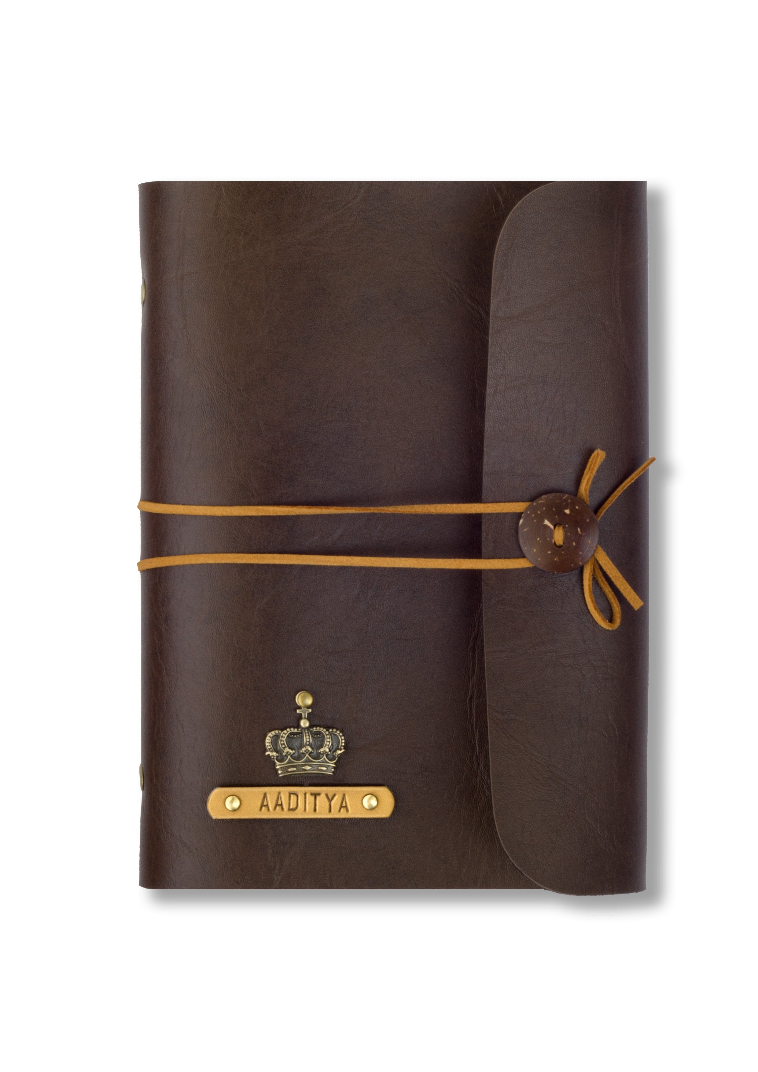 Chocolate brown with Beige thread Diary - Themessycorner