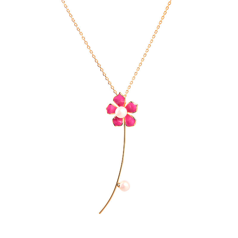 Jewelry Flower Drop Necklace