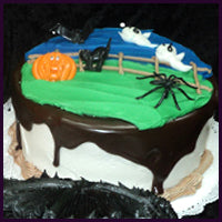 Halloween Decorated Cake with Chocolate Poured Fudge
