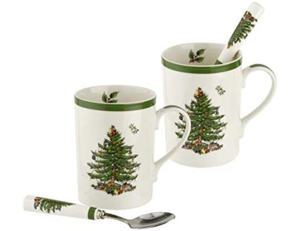 Spode Christmas Tree 4 Piece Mug and Metal Spoon Set
