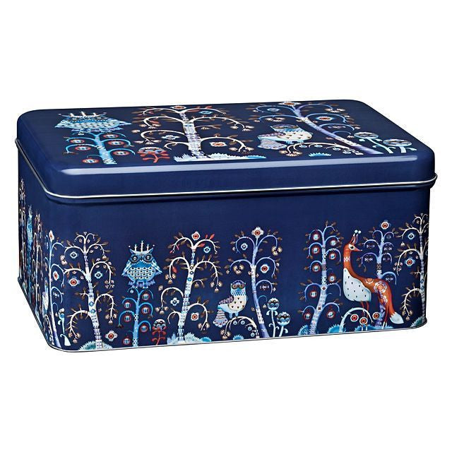 Iittala Taika Blue Rectangular Storage Tin  28cm by 17.8cm by 13cm