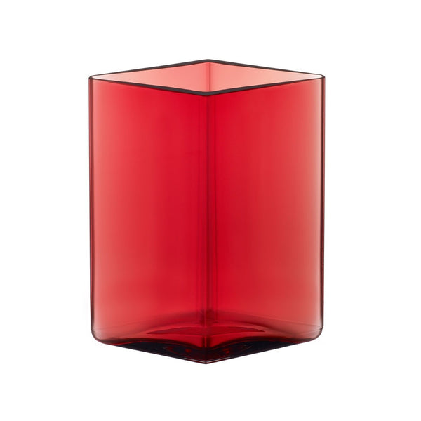 Iittala Ruutu Red Vase 11.5cm by 14cm