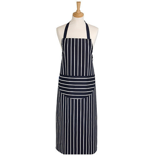 Rushbrookes Textiles Classic Butchers Stripe Navy Apron 99cm by 68cm
