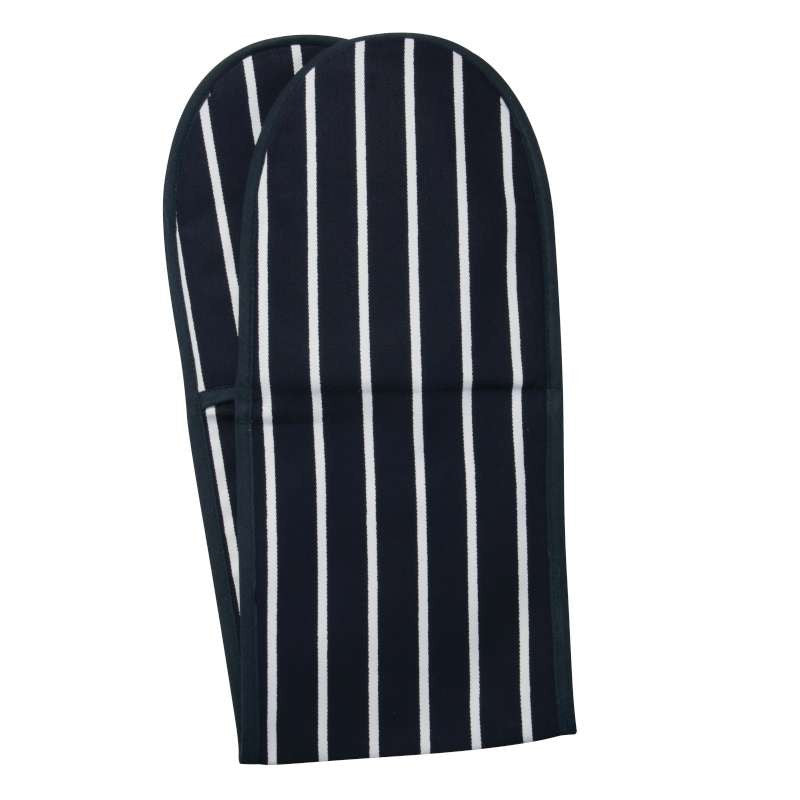 Rushbrookes Textiles Classic Butchers Stripe Navy Double Oven Glove 86cm by 19cm
