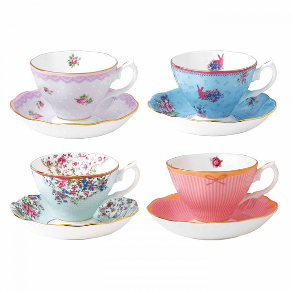 Royal Albert Candy Collection Mixed Teacup and Saucer (Set of 4)