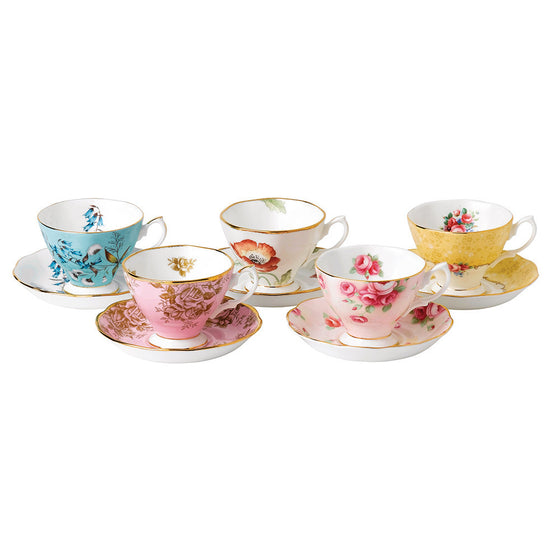 Royal Albert 1450 to 1990 Teacup and Saucer (Set of 5)