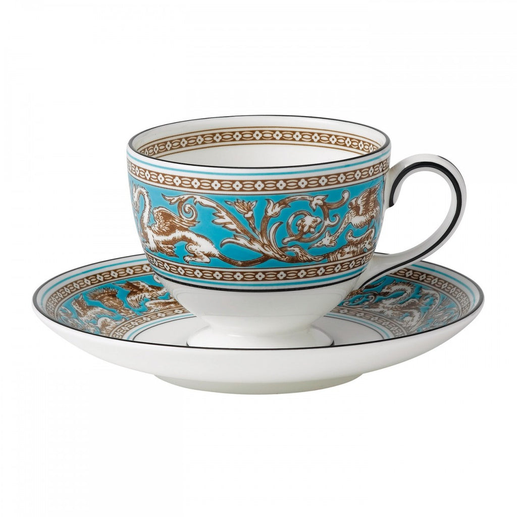 Wedgwood Florentine Turquoise Leigh Teacup and Saucer (Gift Boxed)