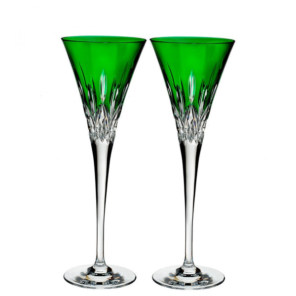 Waterford Crystal Lismore Pops Emerald Toasting Flute (Pair)