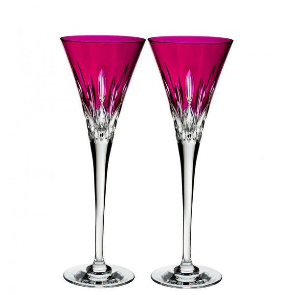 Waterford Crystal Lismore Pops Hot Pink Toasting Flute (Pair)