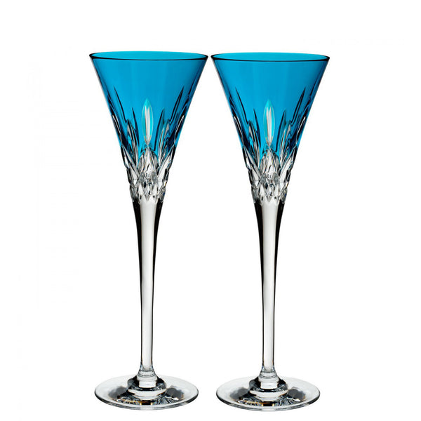Waterford Crystal Lismore Pops Aqua Toasting Flute (Pair)