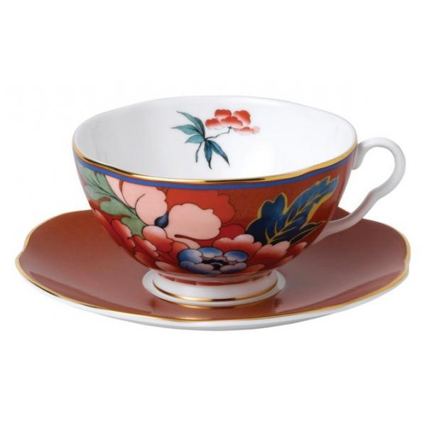Wedgwood Paeonia Red Teacup and Saucer