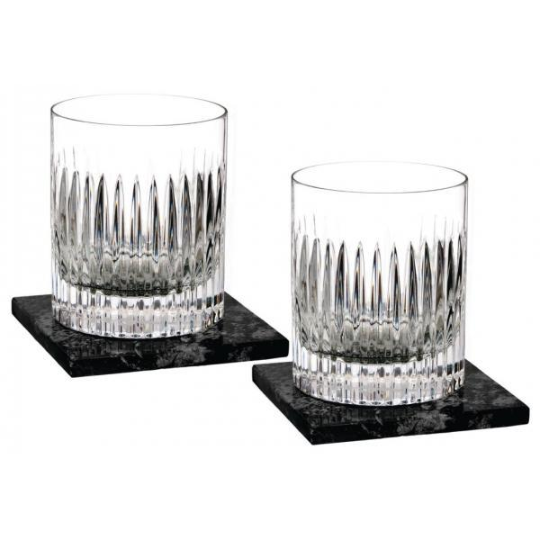 Waterford Aras Short Stories Double Old Fashioned Tumblers (Pair) with 2 Marble Coasters