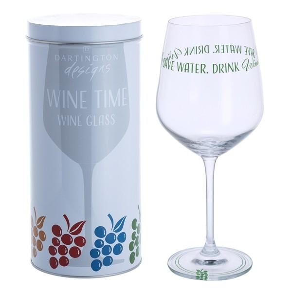 Dartington Crystal Wine Time Save Water, Drink Wine Wine Glass 0.59L