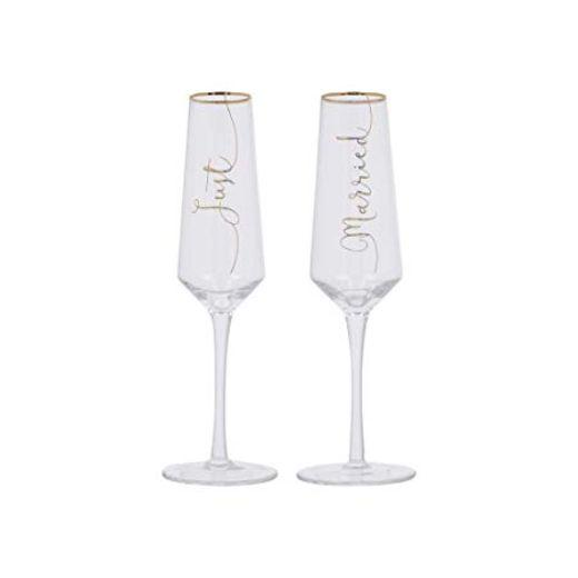 Ava and I Bridal Just Married Flutes (Set of 2)