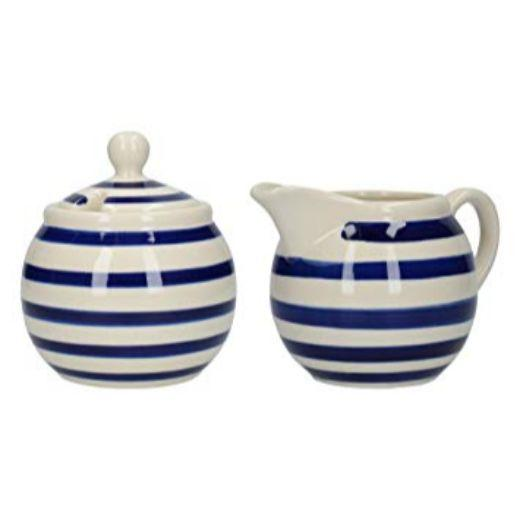 London Pottery Out of the Blue Bands Sugar Bowl and Creamer