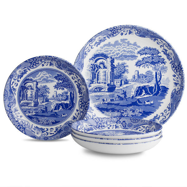 Spode Blue Italian 5 Pc Bowl Set 30cm and 23cm