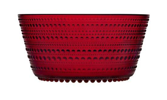 Iittala Kastehelmi Red Glass Bowl 1.9L