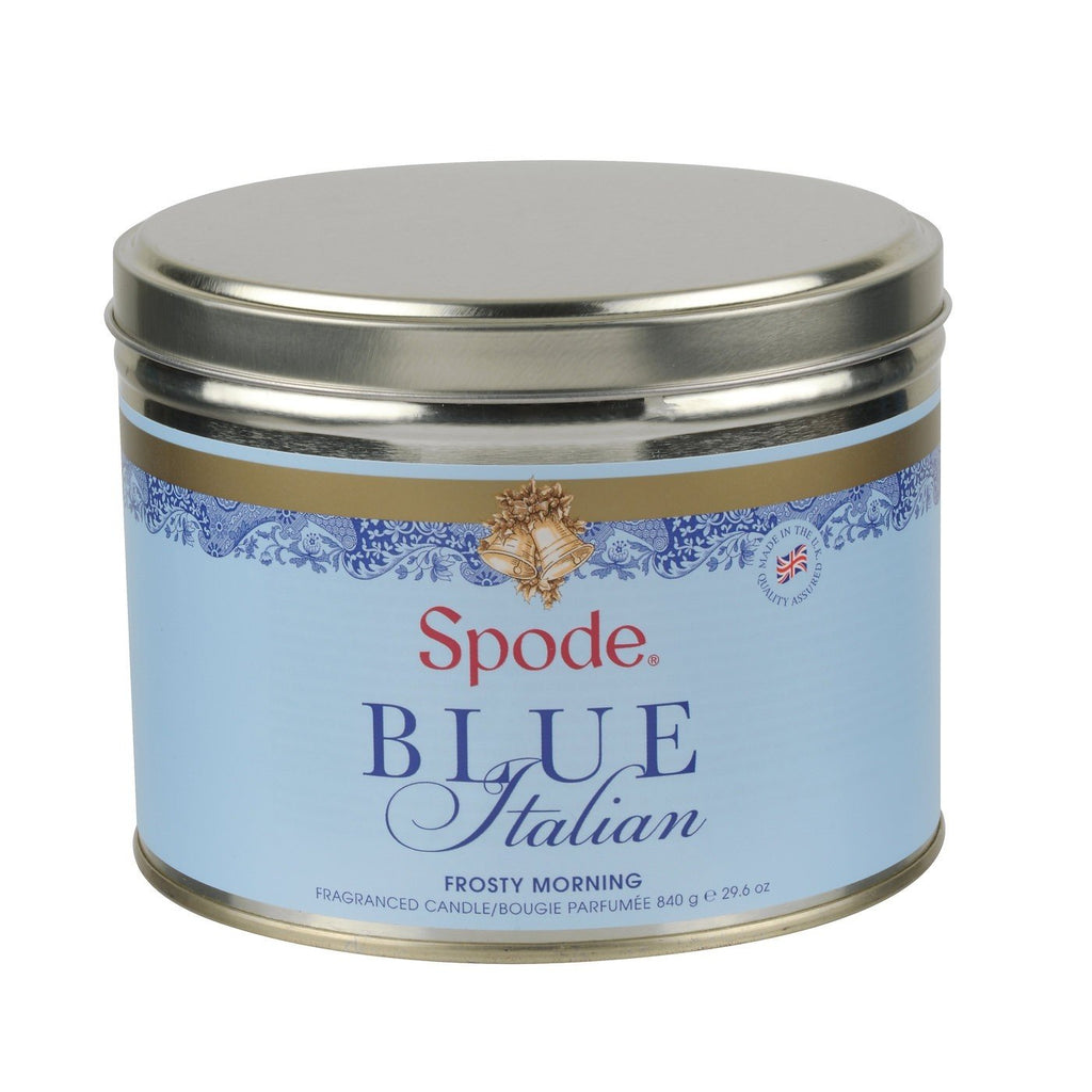 Spode Blue Italian Frosty Morning 3 Wick Waxed Filled Tin