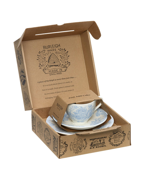 Burleigh Blue Asiatic Pheasants Teacup 3 - Piece Gift Set