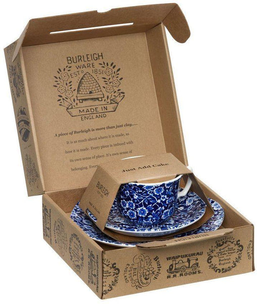 Burleigh Blue Calico Teacup 3 - Piece Gift Set
