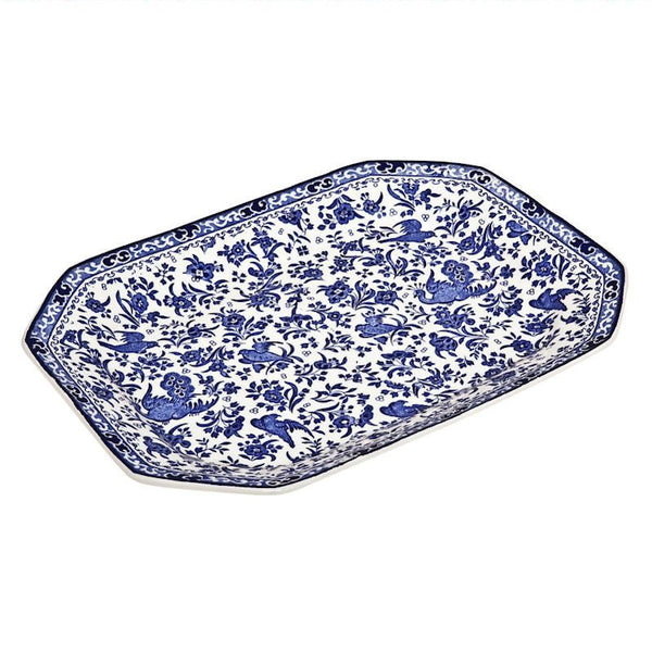 Burleigh Blue Regal Peacock Serving Dish 34cm