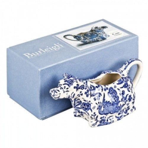 Burleigh Blue Regal Peacock Cow Creamer