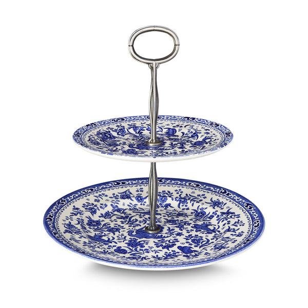 Burleigh Blue Regal Peacock 2 Tier Cake Stand