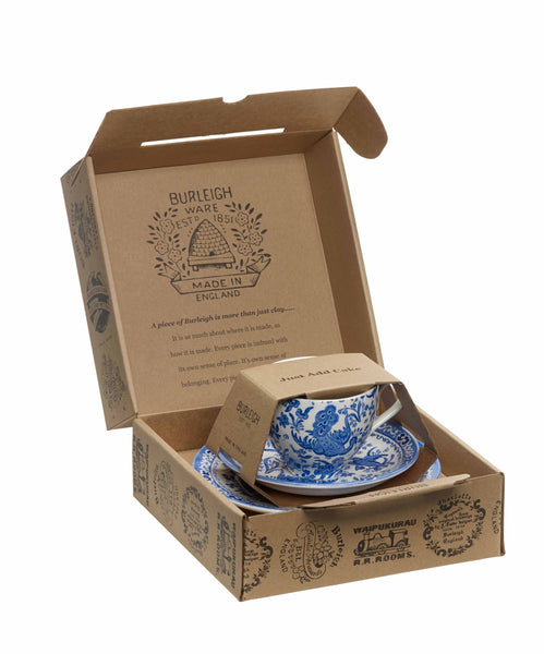Burleigh Blue Regal Peacock Teacup 3 - Piece Gift Set