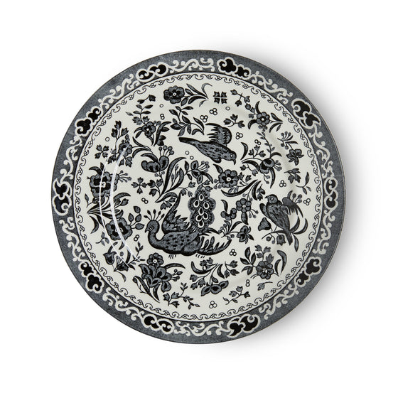 Burleigh Black Regal Peacock Tea Plate 17.5cm