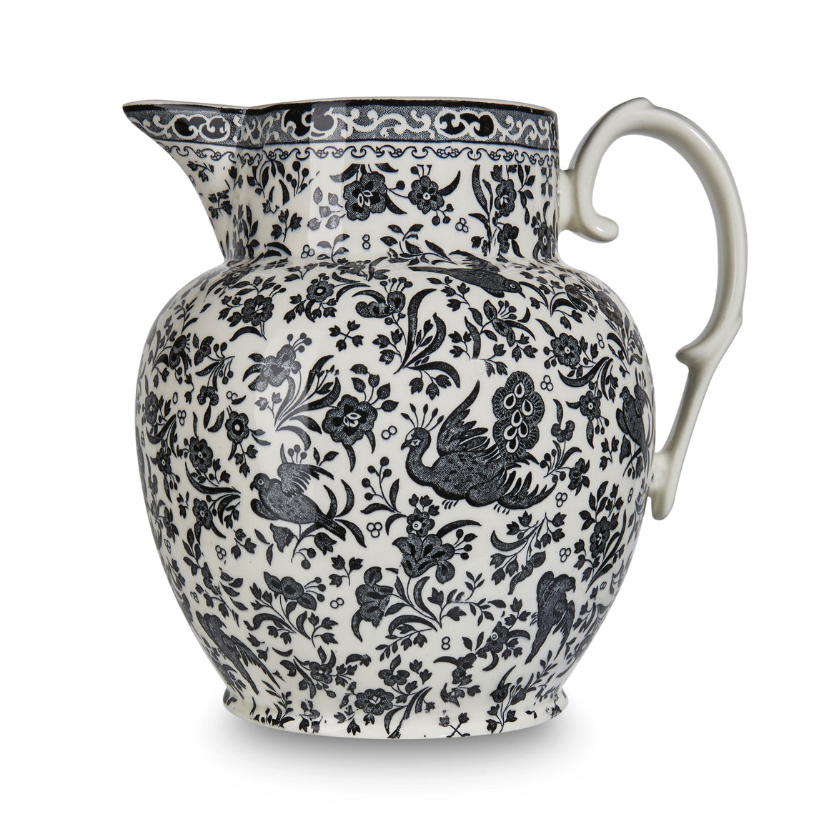 Burleigh Black Regal Peacock Etruscan Jug 2.2L