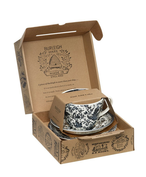 Burleigh Black Regal Peacock Breakfast Cup 3 - Piece Gift Set