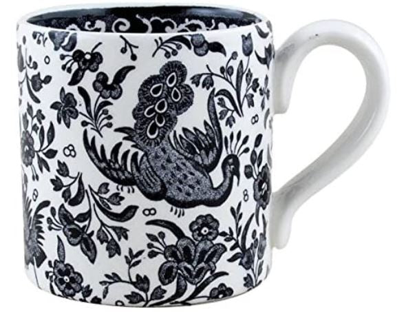 Burleigh Black Regal Peacock Mini Mug 140ml