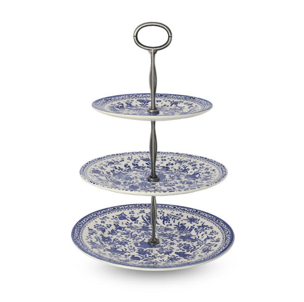 Burleigh Blue Regal Peacock 3 Tier Cake Stand