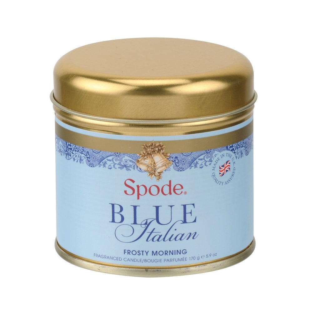 Spode Blue Italian Frosty Morning Gold Wax Filled Tin