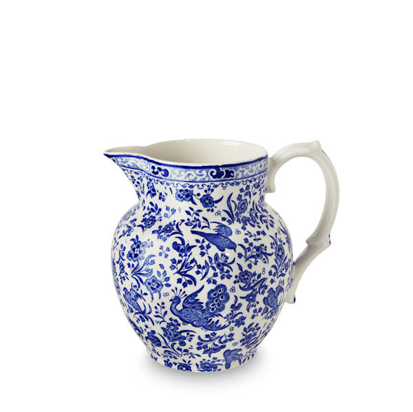Burleigh Blue Regal Peacock Etruscan Large Jug